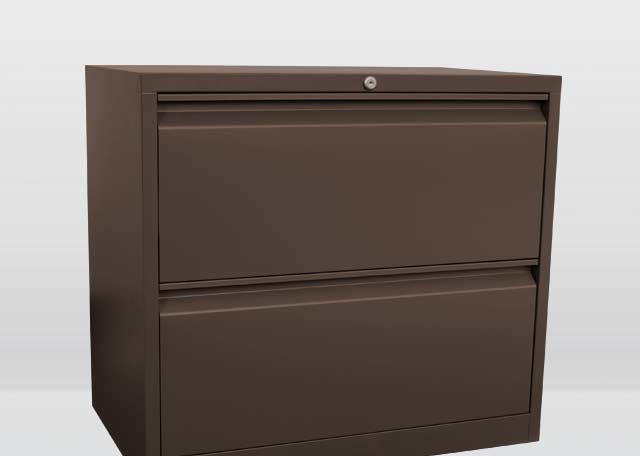 Two-Drawer Lateral File - A larger lockable version of the file/file pedestal, this is mainly used for mass document storage and other larger office supplies.