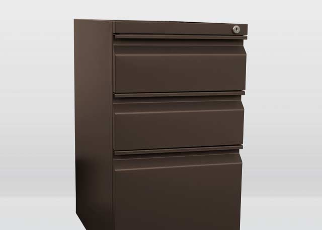 Box / Box / File (BBF) - One of the most common drawer/storage pedestals used in office cubicles today. These pedestals come with a lock above the top drawer.