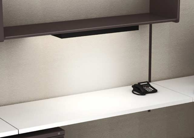 Task Light - Fluorescent lamps which can be attached under binder bins, full-height and half-height shelves. Provides extra light for dimly lit areas.